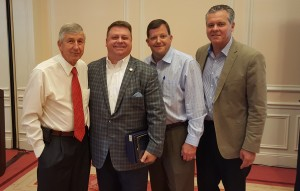 (Left to right):  Dean Proctor of United Beverages, N.C. Rep. Jason Saine, Tim Efird of Standard Distributors, Tim Kent of the N.C. Beer & Wine Wholesalers Association