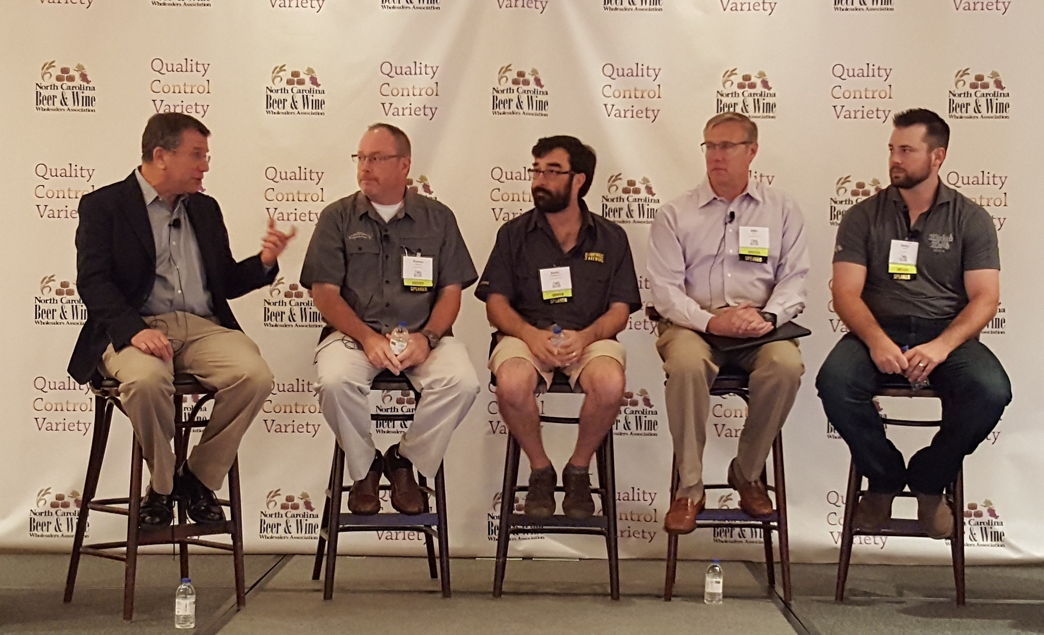 Benj Steinman, publisher of Beer Marketer's Insights, talks with Tommy Gannon (Sierra Nevada), Jamie Bartholomaus (Foothills), Billy Pyatt (Catawba) and Justin Crouch (Wicked Weed)
